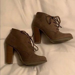 Tan stack heeled booties